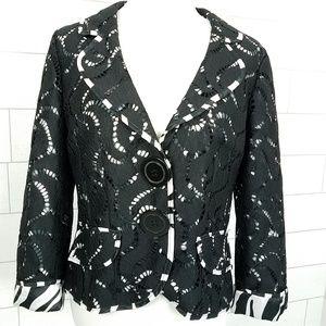 Alberto Makali size 12 Black Lace Zebra Blazer